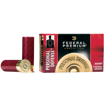 "Federal Personal Defense, 20 Gauge, 2.75"", 4 Buck, Buckshot, 24 Pellets, 5 Round Box PD2564B, UPC : 029465027414"