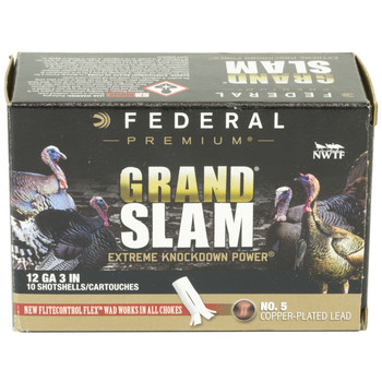 "Federal Grand Slam, 12 Gauge, 3"", #5, 1.75oz, Shotshell, Flight Control, 10 Round Box PFCX157F 5, UPC :604544631814"