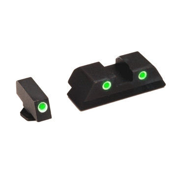 AmeriGlo Classic Series 3 Dot Sights for Glock 20,21,29,30,31,32,36, Green with White Outline, Front and Rear Sights GL-119, UPC :644406900344