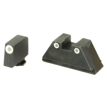 AmeriGlo Tall Suppressor Series, 3 Dot Sights for All Glocks, Green with White Outline, Front and Rear Sights GL-329, UPC :644406902294