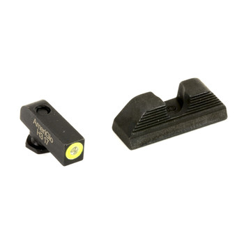 AmeriGlo Protector, Sight, Fits Glock 42 and 43, Green Tritium LimeGreenLumi Outline Front Black Serrated Round Notch Rear GL-352, UPC :644406904694