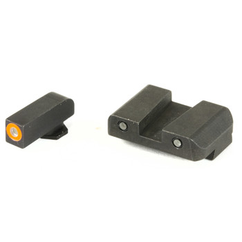 AmeriGlo Spartan Tactical Operator, Sight, Front/Rear, For Glock 42 and 43, Green Tritium Orange Round Outline Front, Green Tritium Black Outline Rear GL-450, UPC :644406908814