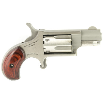 """North American Arms Mini Revolver, Single Action, 22LR, 1.125"""" Barrel, Steel Frame, Stainless Finish, Wood Grips, Fixed Sights, 5Rd NAA-22LR, UPC :744253000034"""