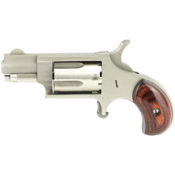 "North American Arms Mini Revolver, Single Action, 22LR, 1.125"" Barrel, Steel Frame, Stainless Finish, Wood Grips, Fixed Sights, 5Rd NAA-22LR, UPC :744253000034"