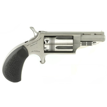 """North American Arms The Wasp, Single Action, 22LR/22WMR, 1.625"""" Barrel, Steel Frame, Stainless Finish, Rubber Grips, Fixed Sights, 5Rd NAA-22MC-TW, UPC :744253002304"""