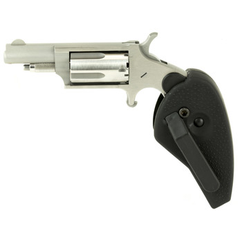 """North American Arms Mini Revolver Single Action 22WMR 1.625"""" Steel Stainless Polymer Fixed Sights 5Rd Holster Grip NAA-22M-HG, UPC :744253000904"""