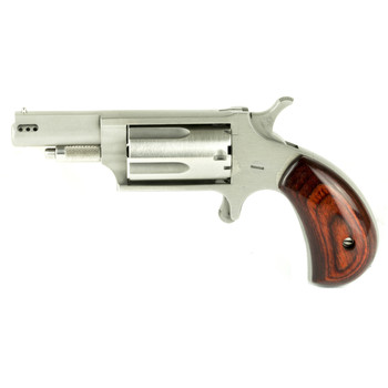 "North American Arms Ported Magnum, Micro Compact, 22WMR, 1.625"" Barrel, Steel Frame, Stainless Finish, Wood Grips, 5Rd NAA-22M-P, UPC :744253002144"