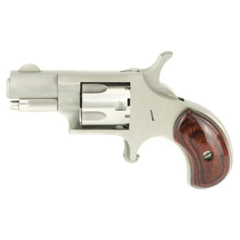 "North American Arms Mini Revolver, Single Action, 22 Short, 1.125"" Barrel, Steel Frame, Stainless Finish, Wood Grips, Fixed Sights, 5Rd NAA-22S, UPC :744253000324"