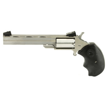 "North American Arms Mini Master, Single Action, 22LR/22WMR, 4"" Barrel, Steel Frame, Stainless Finish, Rubber Grips, Adjustable Sights, 5Rd NAA-MMTC, UPC :744253000614"