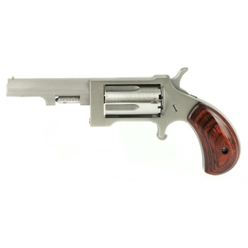 "North American Arms Mini Revolver Sidewinder, Micro Compact, 22WMR, 2.5"" Barrel, Steel Frame, Stainless Finish, Wood Grips, Fixed Sights, 5Rd, Swing-out Style Cylinder Assembly Creates an Easier Process of Loading and Unloading NAA-SW-250, UPC :74425"