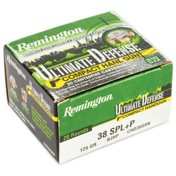 Remington Compact Ultimate Home Defense, 38 Special, 125 Grain, Brass Jacketed Hollow Point, 20 Round Box 28965, UPC : 047700427904