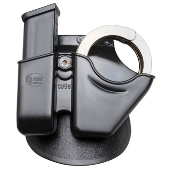 Fobus Belt Case, Handcuff/Mag Combo 9mm/40 Cal, Universal Double Stack, Right Hand, Kydex, Black CU9BH, UPC :676315001904