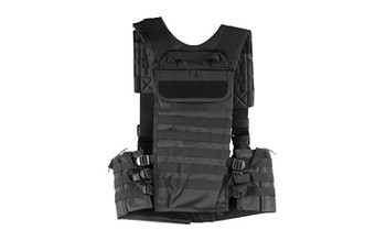 NCSTAR AR Chest Rig, Nylon, Black, Fully Adjustable, PALS/ MOLLE Webbing, Includes 6 Double AR Magazine pouches CVARCR2922B, UPC :814108016654