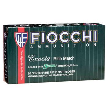Fiocchi Ammunition Rifle, 308WIN, 175 Grain, Hollow Point Boat Tail Match King, 20 Round Box 308MKD, UPC :762344705514