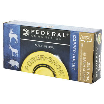 Federal PowerShok, 243 Win, 85 Grain, Copper, Lead Free, 20 Round Box 24385LFA, UPC :604544617344