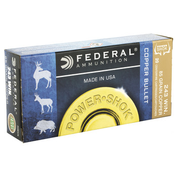 Federal PowerShok, 243 Win, 85 Grain, Copper, Lead Free, 20 Round Box 24385LFA, UPC :604544617344