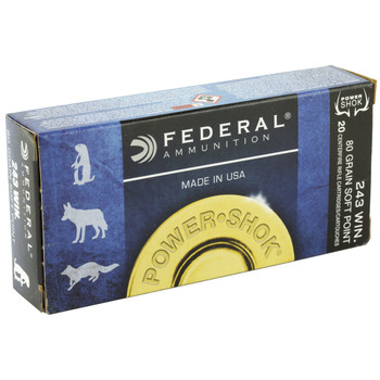 Federal PowerShok, 243WIN, 80 Grain, Sierra, 20 Round Box 243AS, UPC : 029465091354