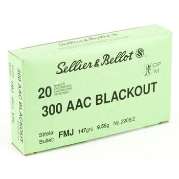 Sellier & Bellot Rifle, 300 Blackout, 147 Grain, Full Metal Jacket, 20 Round Box SB300BLKB, UPC :754908512454