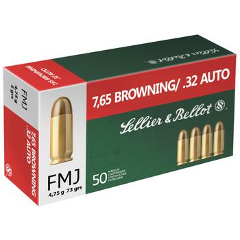Sellier & Bellot Pistol, 32ACP, 73 Grain, Full Metal Jacket, 50 Round Box SB32A, UPC :754908500024