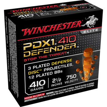 "Winchester Ammunition Supreme Elite, 410 Gauge, 2.5"", Buckshot, 3 Defense, Discs/12 BB Pellets, 10 Round Box S410PDX1, UPC : 020892020054"