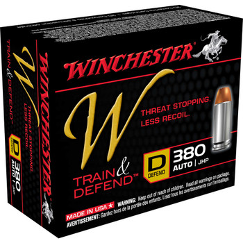 Winchester Ammunition W - Train & Defend, 380ACP, 95 Grain, Jacketed Hollow Point, Low Recoil, 20 Round Box W380D, UPC : 020892220454