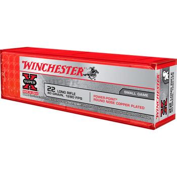 Winchester Ammunition Power Point, 22LR, 40 Grain, Plated Power Point, 100 Round Box X22LRPP1, UPC : 020892101944