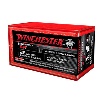 Winchester Ammunition Super-X, 22 WMR, 28 Grain, Jacketed Hollow Point Lead Free, 50 Round Box X22MHLF, UPC : 020892102354