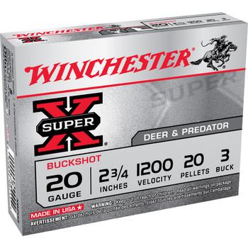 "Winchester Ammunition Super-X, 20 Gauge, 2.75"", 3 Buck, Buckshot, 20 Pellets,5 Round Box XB203, UPC : 020892007154"