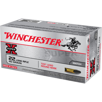 Winchester Ammunition Super-X, 22LR, 40 Grain, Lead Round Nose Target,, 50 Round Box XT22LR, UPC : 020892100244