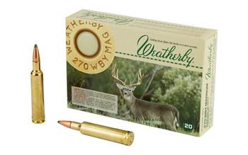 Weatherby Ammunition,270 Weatherby, 130 Grain, Spire Point, 20 Round Box H270130SP, UPC :747115010264