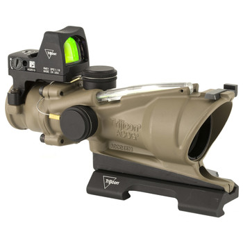 Trijicon ACOG ECOS, 4X32mm Dual Illuminated Green Crosshair 5.56 Reticle, Backup Iron Sights, Quick Release Mount, LED 3.25 MOA Red Dot RMR Type 2, Cerakote Flat Dark Earth Finish TA31-D-100554, UPC :719307311824