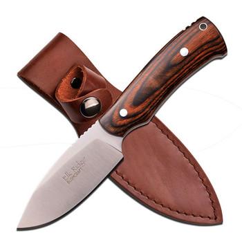 Elk Ridge 7.5in Satin Fixed Bld-Dark Brown Pakkawood Handle, UPC :805319092704