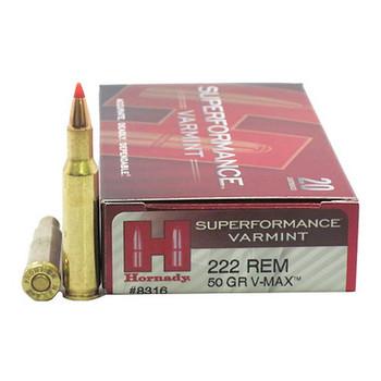 Hornady Superformance Varmint Ammunition 222 Remington 50 Grain V-MAX Box of 20, UPC : 090255383164