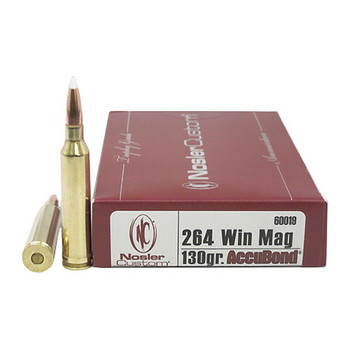 Nosler Trophy Grade Ammunition 264 Winchester Magnum 130 Grain AccuBond Box of 20, UPC : 054041600194