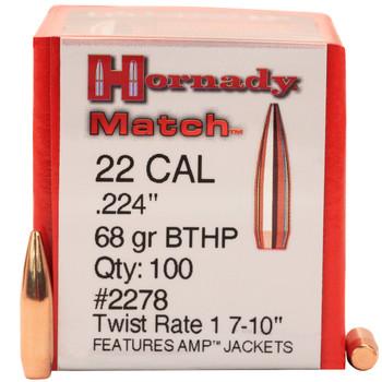 BULLET 22 CAL 224 68GR BTHP MTCH 100/BX, UPC : 090255222784