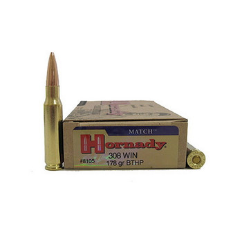 Hornady Match Ammunition 308 Winchester 178 Grain Hollow Point Boat Tail Box of 20, UPC : 090255381054