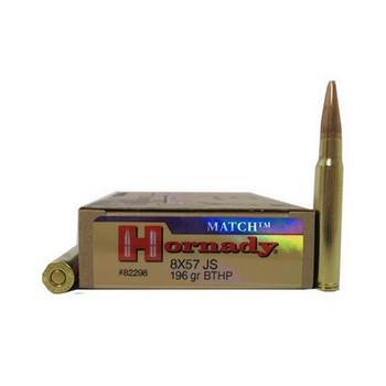 Hornady Vintage Match Ammunition 8x57mm JS Mauser (323 Diameter) 196 Grain Hollow Point Boat Tail Box of 20, UPC : 090255822984
