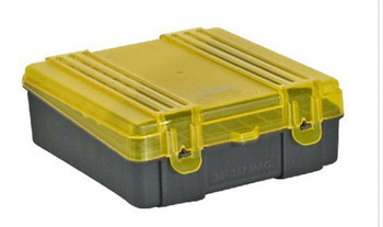 Plano Ammo Box 38 Special, 357 Magnum 100-Round Plastic Dark Gray and Clear Amber, UPC : 024099122504