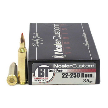 Nosler Trophy Grade Ammunition 22-250 Remington 35 Grain Ballistic Tip Varmint Lead-Free Box of 20, UPC : 054041600064