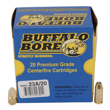 Buffalo Bore Ammunition Outdoorsman 40 S&W +P 155 Grain Jacketed Hollow Point Box of 20, UPC :651815023014