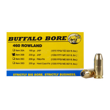 Buffalo Bore Ammunition 460 Rowland 230 Grain Jacketed Hollow Point Box of 20, UPC :651815035024