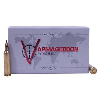 Nosler Varmageddon Ammunition 22-250 Remington 55 Grain Tipped Flat Base Box of 20, UPC : 054041651554