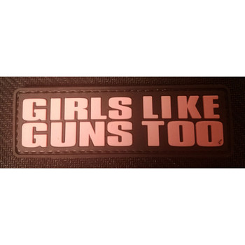 RUBBER MORALE PATCH GIRLS LIKE GUNS TOO, UPC :654975994644