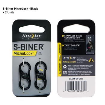 S-Biner MicroLock Steel 2pk Black, UPC : 094664026674