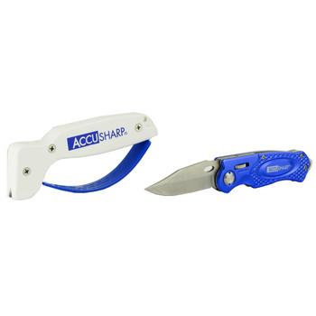 AccuSharp SharpNEasy 2-Step Combo, Blue, Folding Knife With Sharpener 044C, UPC : 015896000447