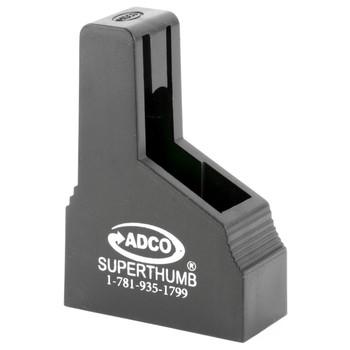 ADCO Super Thumb, Mag Loader, Black Finish, Fits Single Stack  380ACP Magazines, Fits Bersa Thunder, beretta 85/Pico, Ruger LCP, Sig 238, Walther PPK ST6, UPC :733315010067