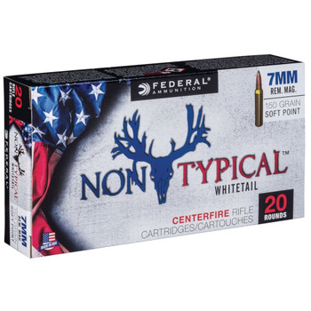 Federal Non Typical, 7MM Rem, 150Gr, Soft Point, 20 Round Box 7RDT150, UPC :604544627077