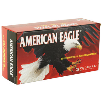 Federal American Eagle, 357MAG, 158 Grain, Jacketed Soft Point, 50 Round Box AE357A, UPC : 029465085087