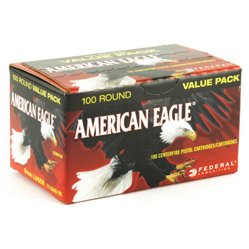 Federal American Eagle Ammunition, 9mm, 115 Grain, Full Metal Jacket Value Pack, 100 Round Box AE9DP100, UPC : 029465062477