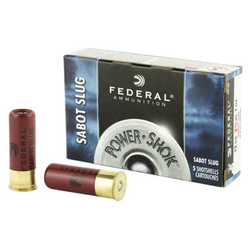 "Federal PowerShok, 12 Gauge, 2.75"", Max Dram, 1oz, Sabot Slug, Hollow Point,5 Round Box F127SS2, UPC : 029465027377"